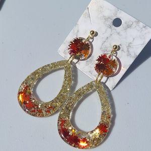 Glitter Leaf Earrings
